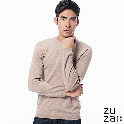 zuzai 自在發熱衣BIELLA YARNN男圓領羊毛衫-卡其色