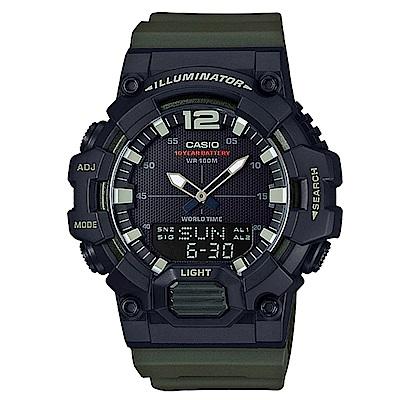 CASIO 經典再現10年電力雙顯電子錶(HDC-700-3A)-墨綠/48.8mm