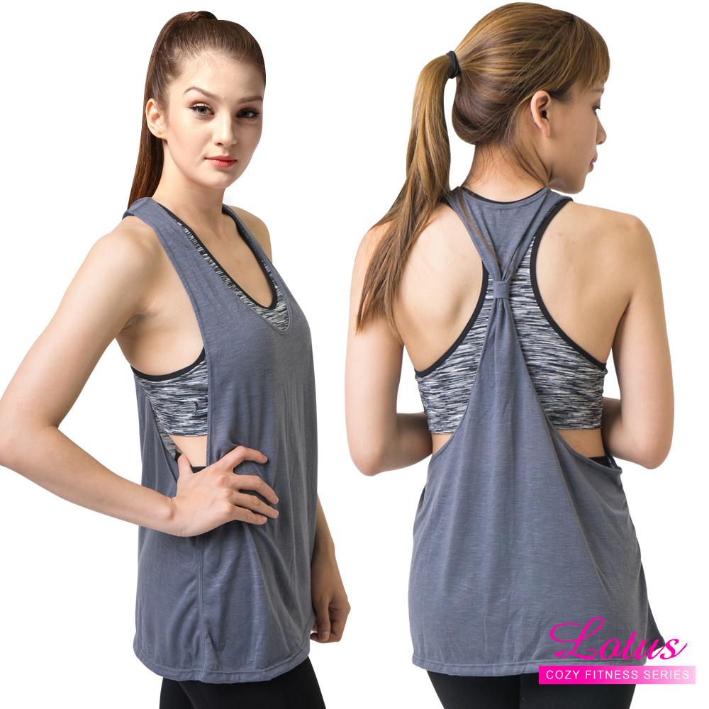 運動內衣 印染線條假兩件運動背心含內衣 個性黑 LOTUS
