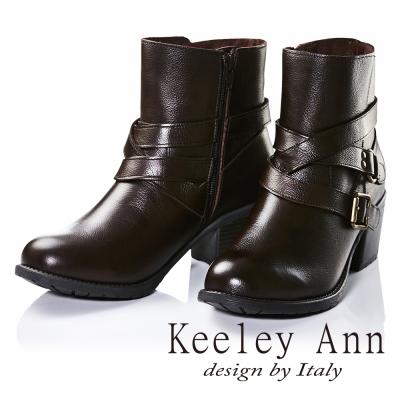 Keeley Ann騎士風格~交叉雙皮帶飾釦真皮中跟短靴(咖啡色)