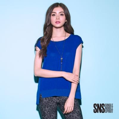 SNS 素面異織紋拼接針織上衣(3色)