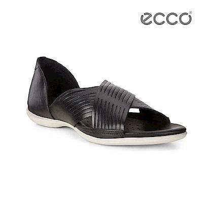 ECCO FLASH 交叉造型平底涼鞋-黑