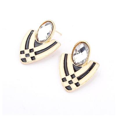 【Aimee Toff】水鑽盾牌雙色條紋耳環(白)