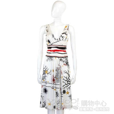 CLASS roberto cavalli 白色圖騰緞面V領洋裝
