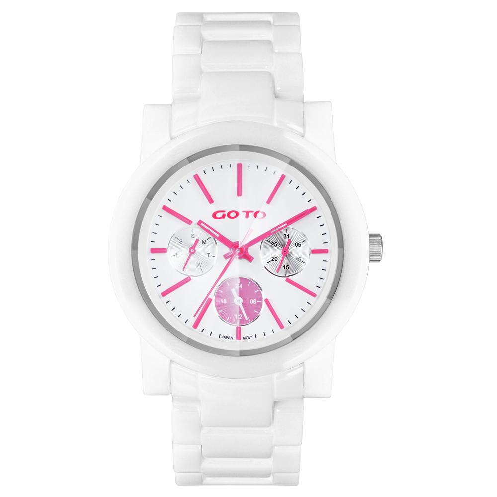 GOTO 耀彩悸動三眼陶瓷時尚腕錶-粉紅x白/38mm