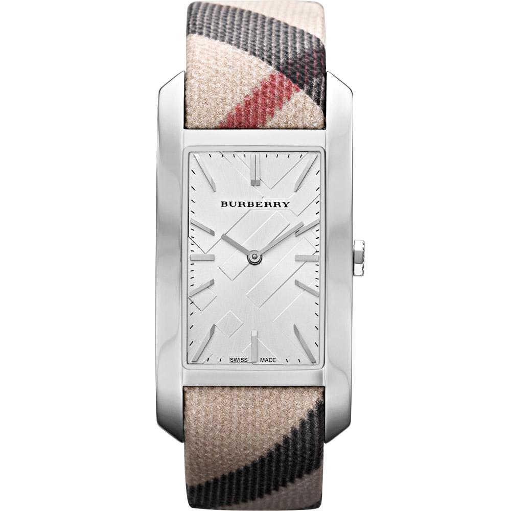 BURBERRY 英倫格紋腕錶-銀/25mm