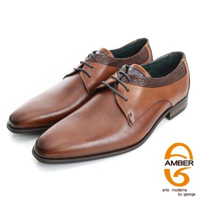 Amber-尊榮時尚 壓紋綁帶紳士鞋皮鞋(男)-咖色