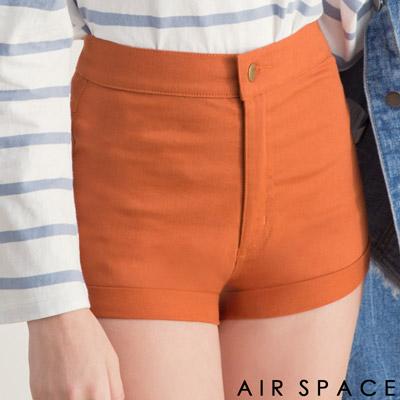 AIR SPACE 彈性素面反褶高腰短褲(深咖)