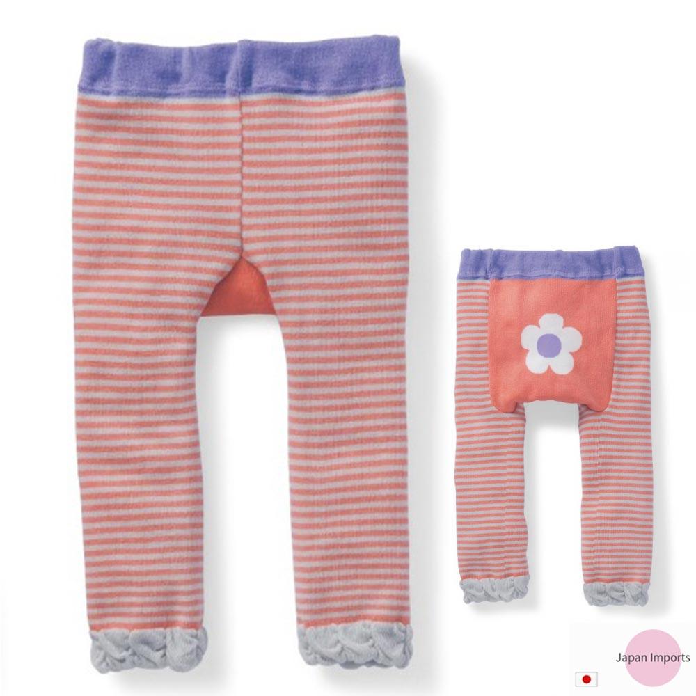 Japan Imports 橘條紋小花屁屁蕾絲彈性內搭褲