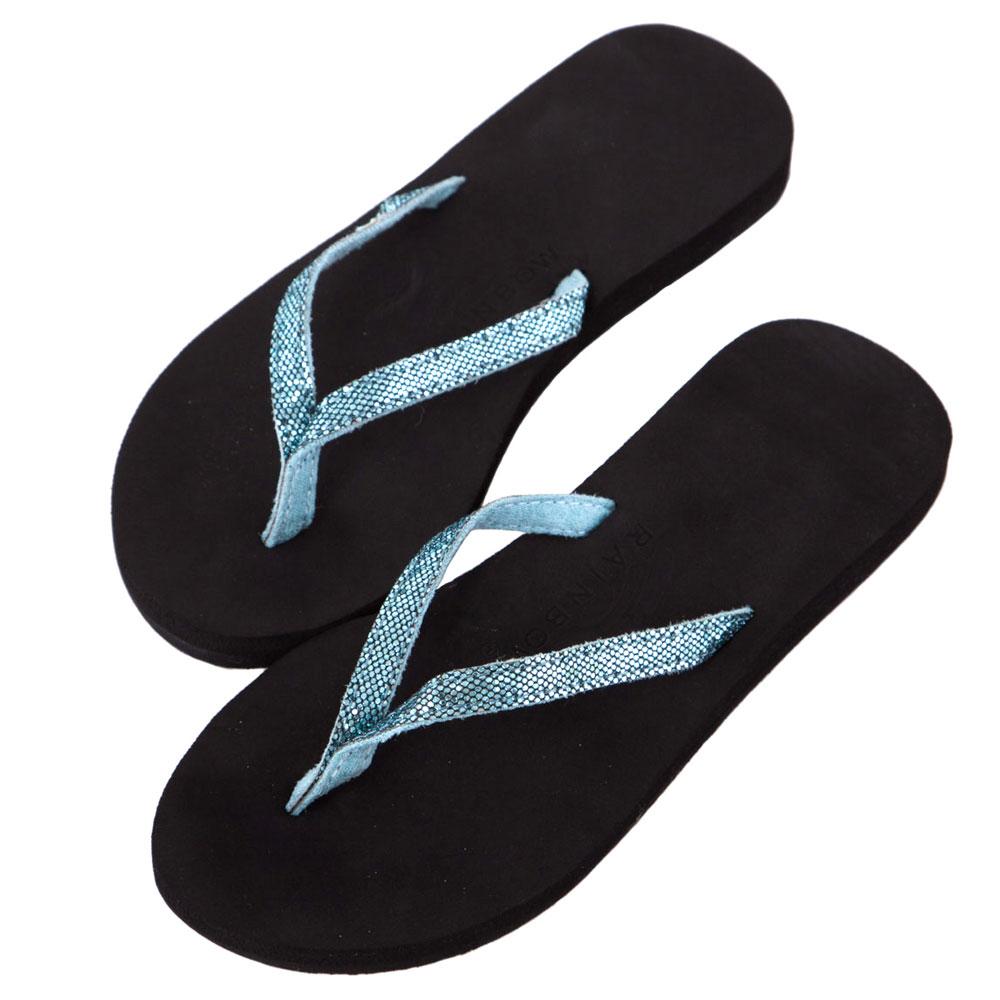 Rainbow Sandals美國細緻亮片夾腳休閒拖鞋-水藍色