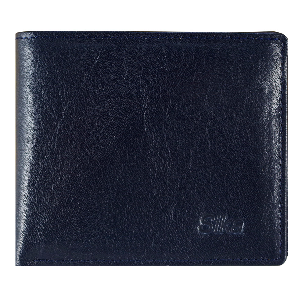 SIKA義大利素面牛皮簡約中性短皮夾(含拉鍊零錢匣) A8220-06清玉藍