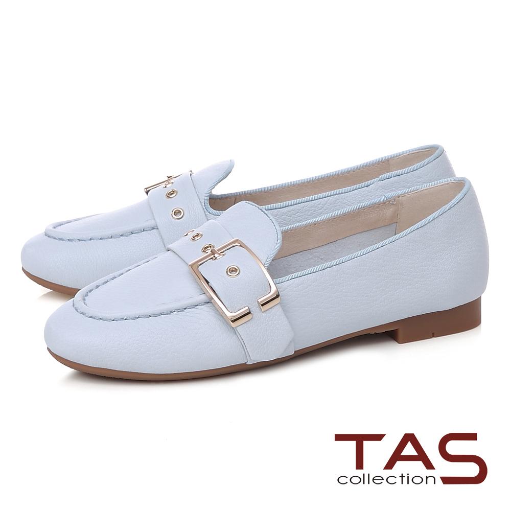 TAS 金屬皮帶扣立體縫線樂福鞋-清新淺藍