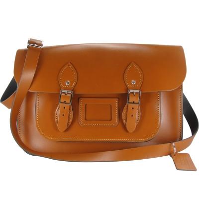 The Leather Satchel 英國手工牛皮劍橋包 肩背 側背包 倫敦棕 14吋