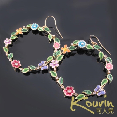 KOURIN 花園系列-法瑯彩蝶花園圓型垂掛式耳環