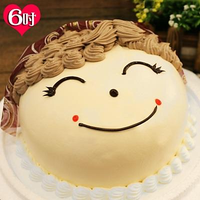 現貨+預購-波呢歐幸福媽媽臉龐雙餡布丁夾心水果鮮奶蛋糕(6吋)