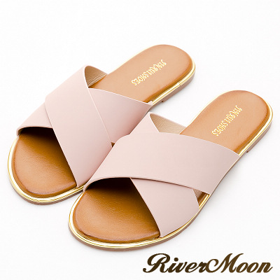 River&Moon加大尺碼-簡單素面寬版交叉飾金邊涼拖鞋-皮革粉