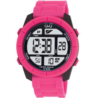 Q&Q 彩色潮流大鏡面多功能電子錶-桃紅/47mm