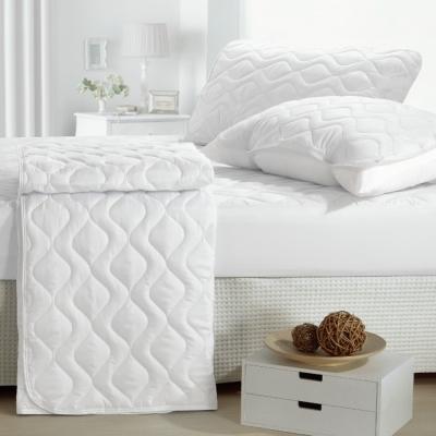 eyah宜雅 台灣製純色加厚舖棉保潔墊床包式單人2入組-含枕墊*1-純潔白