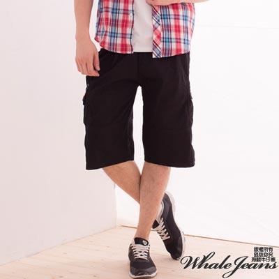 WHALE JEANS 男款美式實搭多口袋造型休閒中褲_黑