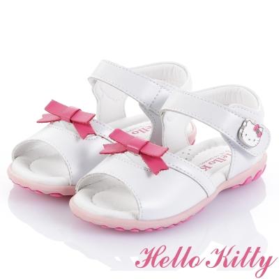 (獨賣款)HelloKitty手工超纖涼鞋童鞋-白(中小童)