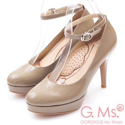 G.Ms. 好穿進化-MIT牛皮2way厚底高跟鞋-漆皮可可
