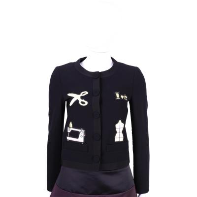 MOSCHINO 黑色裁縫拼貼設計排釦外套