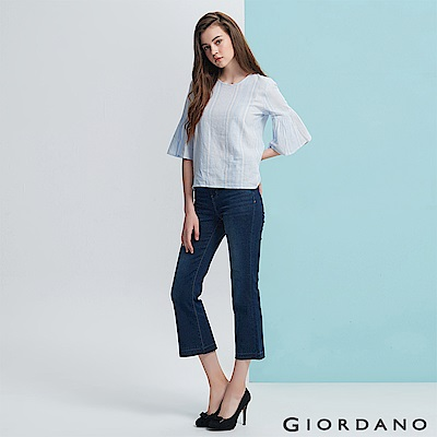 GIORDANO 女裝高腰復古修身小喇叭九分牛仔褲 -71 深藍色