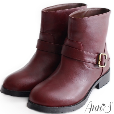 Ann'S率性素面單釦帶小惡魔工程短靴-紅