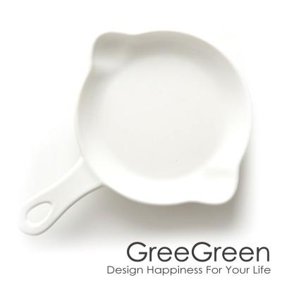 GREEGREEN 雙嘴單柄圓形陶瓷烤盤 5吋 白色 餐盤 盤子 點心盤 (8H)