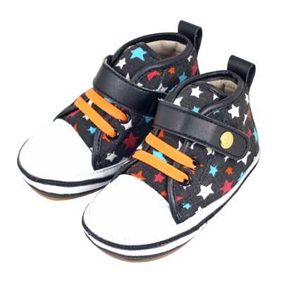 Swan天鵝童鞋-彩色星星高筒休閒學步鞋1520-黑