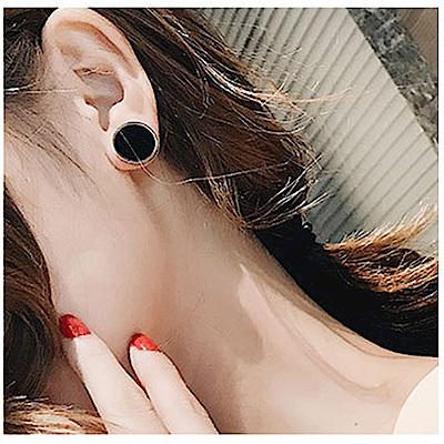 梨花HaNA 韓國男女通用鈦鋼玫瑰金黑圓金耳環