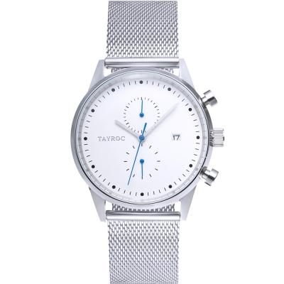 TAYROC英式簡約時尚米蘭帶計時手錶-白X銀/43mm
