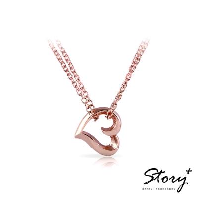 STORY故事銀飾-簡單的心-純銀項鍊(玫瑰金)