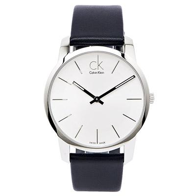 CK Calvin Klein Classic 極簡時尚男性皮帶手錶-銀面x黑色/43mm