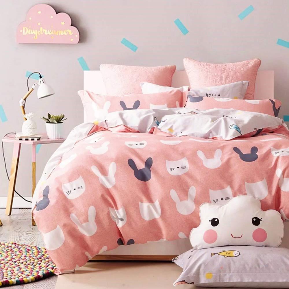 Ania Casa海派甜心 雙人三件式 100%精梳棉 台灣製 床包枕套純棉三件組