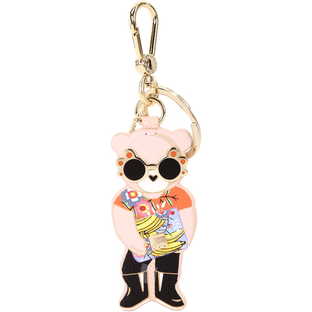 FURLA LADY BLOGGER 時髦熊牛皮鑰匙圈(粉橘色)