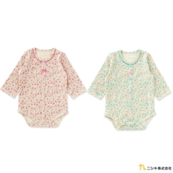 Nishiki 日本株式會社 小碎花蝴蝶結長袖包屁衣連身衣
