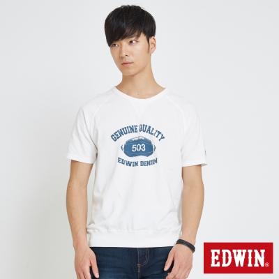 EDWIN 經典大學領印花T恤-男-白色