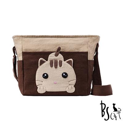 ABS貝斯貓 可愛貓咪拼布 肩背包 斜揹包 (咖) 88-206