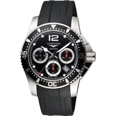 LONGINES 深海征服者300米潛水機械錶-黑x橡膠/41mm