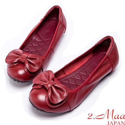 2.Maa-OL必備真皮立體蝴蝶結平底鞋-紅