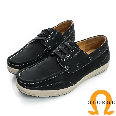 GEORGE-輕量舒適厚底真皮休閒帆船鞋-黑色