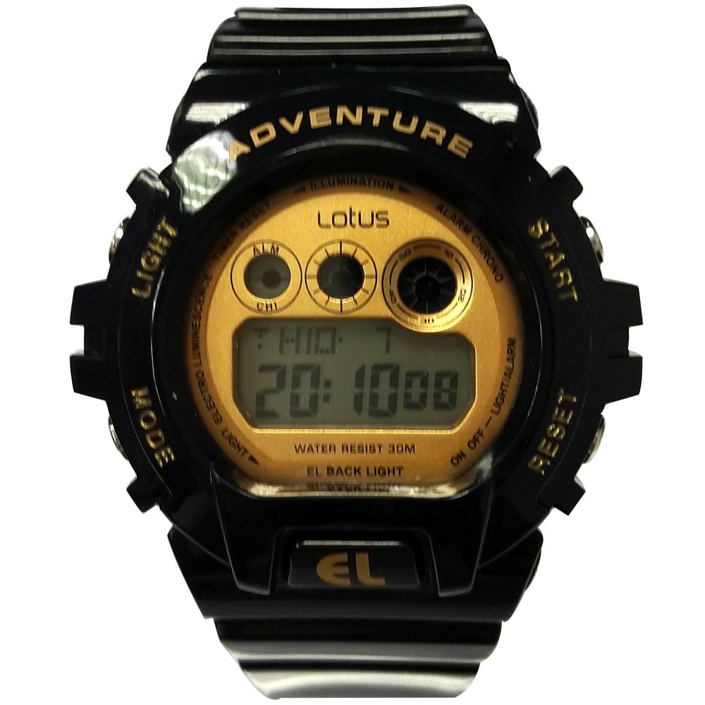 Lotus 帥氣型男 計時鬧鈴運動錶(TP1279M-07)-黑金/48mm