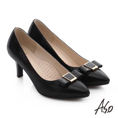 A.S.O 逸麗知性 絨面真皮蝴蝶結尖楦高跟鞋 黑色