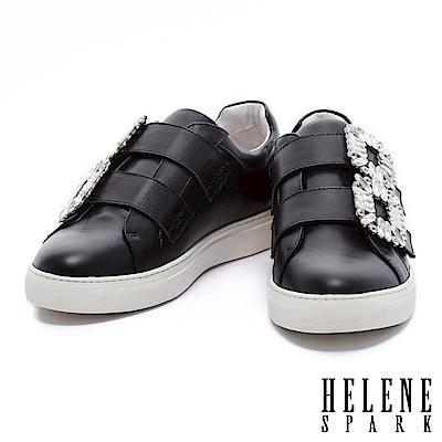休閒鞋 HELENE SPARK 簡約優雅水鑽飾釦點綴全真皮厚底休閒鞋-黑
