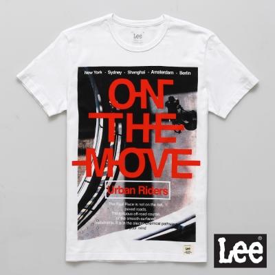 Lee 短袖T恤 單車圖案紅色文字印刷-男款(白色)