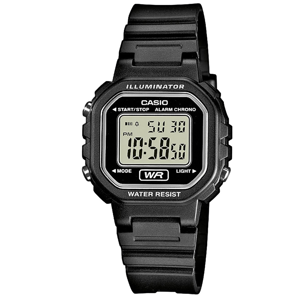 CASIO 黑色炫風方形電子錶(LA-20WH-1A)-黑/30.4mm