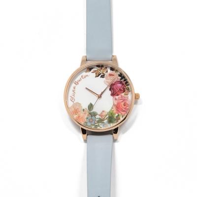 Olivia Burton 英倫復古手錶 玫瑰花園 淺藍真皮錶帶 玫瑰金錶框 38mm