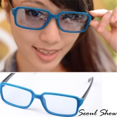 Seoul-Show-時尚亮眼毛絨-方框平光眼鏡-303藍色
