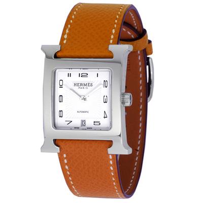 HERMES愛馬仕 H-OUR 中型自動機械腕錶-咖啡色荔枝紋錶帶/26mm